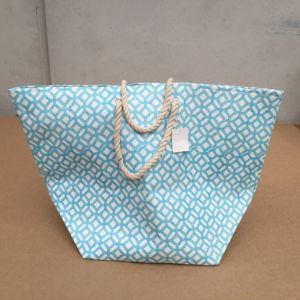 Geometric XL Aqua Beach Bag