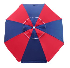 FIESTA 185CM BEACH UMBRELLA - RED/NAVY