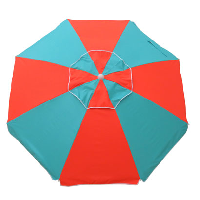 FIESTA 185CM BEACH UMBRELLA - TURQUOISE/ORANGE