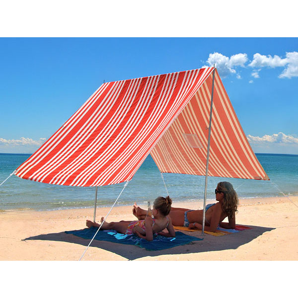 sombrilla beach shade french stripe red beachkit