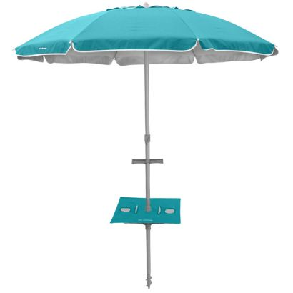 BEACHCOMBER 210cm UMBRELLA with SUNRAKER TABLE - TURQUOISE